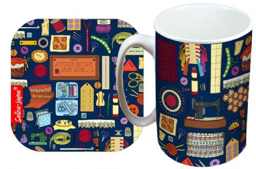 Selina-Jayne Sewing Limited Edition Designer Mug and Coaster Gift Set
